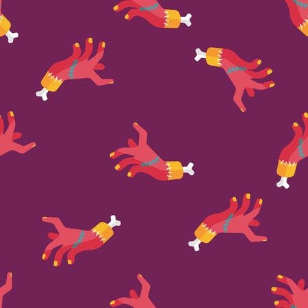 dangle: Halloween zombie hand flat icon,eps10 seamless pattern background Illustration