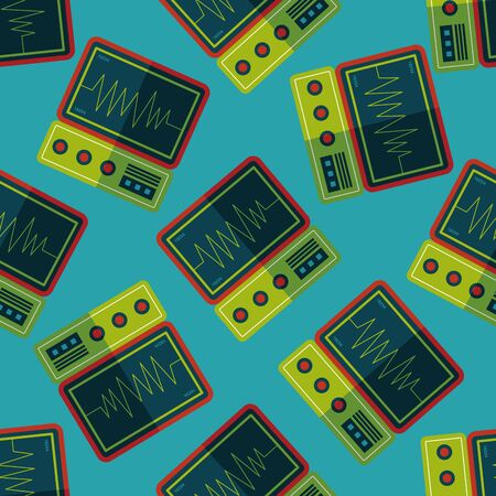 monitor in the ICU flat icon seamless pattern background Illustration