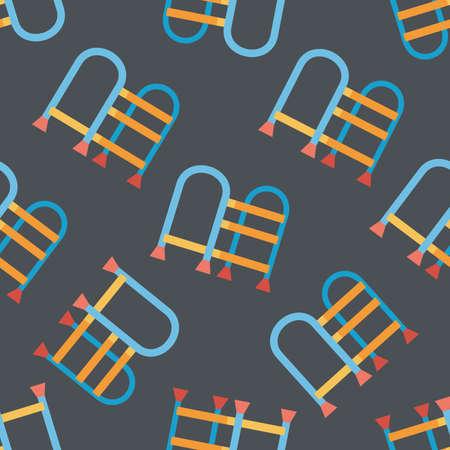 walking stick: walking stick flat icon seamless pattern background Illustration