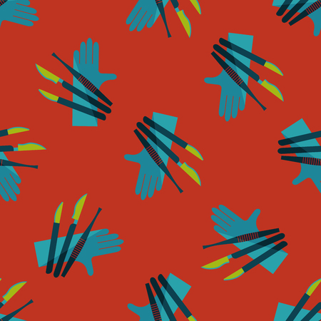 incision: Surgical Instrument flat icon seamless pattern background Illustration