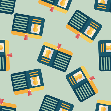 guests website: Identification card flat icon seamless pattern background