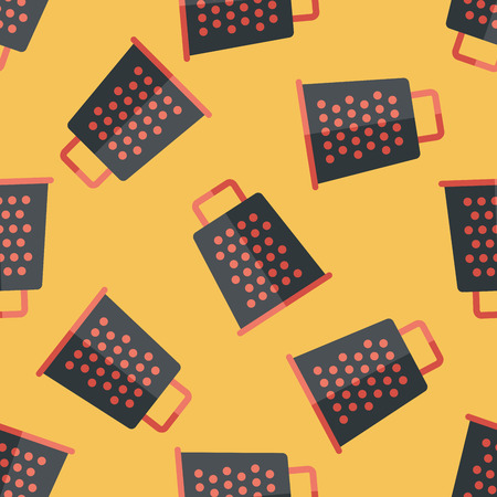 grater: kitchenware grater flat icon,eps10 seamless pattern background Illustration