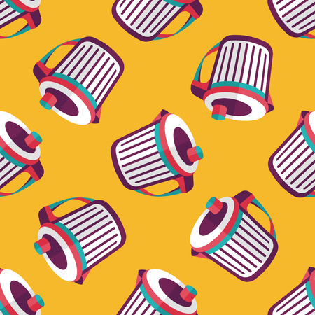 wastepaper basket: kitchenware garbage can flat icon,eps10 seamless pattern background