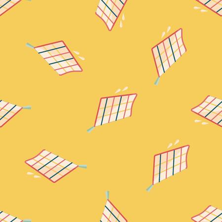 rag: kitchenware rag flat icon,eps10 seamless pattern background Illustration
