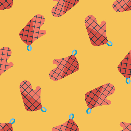 mitts: kitchenware oven mitts flat icon,eps10 seamless pattern background