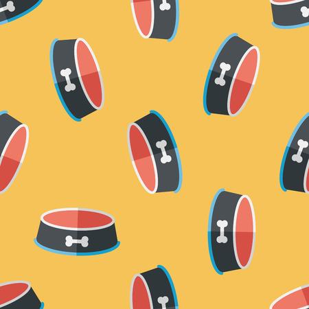 empty bowl: Pet dog bowl flat icon,eps10 seamless pattern background