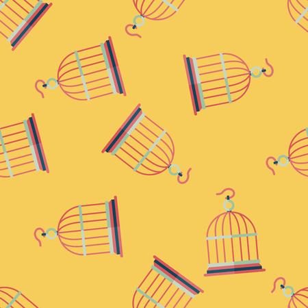 captured: Pet bird cage flat icon, eps10 seamless pattern background