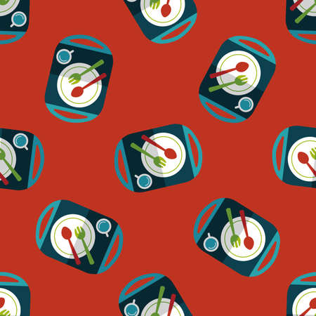 ware: dish ware and cutlery flat icon seamless pattern background Illustration