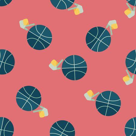 bal: Basketball flat icon,eps10 seamless pattern background Illustration