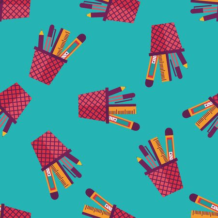 pen holder: Pen Holder flat icon,eps10 seamless pattern background Illustration