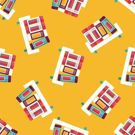 bibliography: bookshelf flat icon,eps10 seamless pattern background Illustration