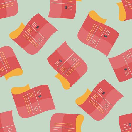 bank statement: shopping credit card bill flat icon,eps10 seamless pattern background Illustration