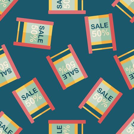 shopping sale sign flag flat icon,eps10 seamless pattern background Illustration