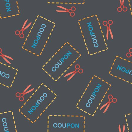 cutoff: shopping sale coupon flat icon,eps10 seamless pattern background