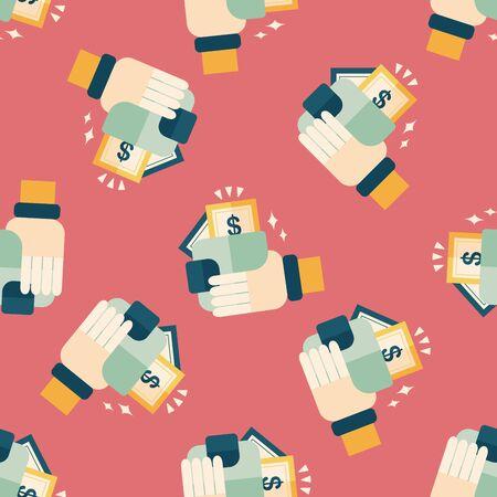 shopping wallet flat icon,eps10 seamless pattern background Illustration