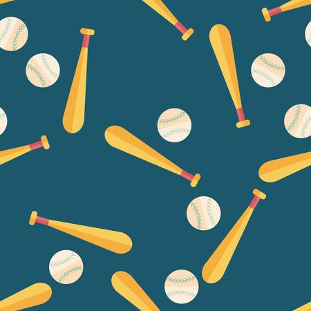 野球フラット アイコン、eps10 のシームレスなパターン背景  イラスト・ベクター素材