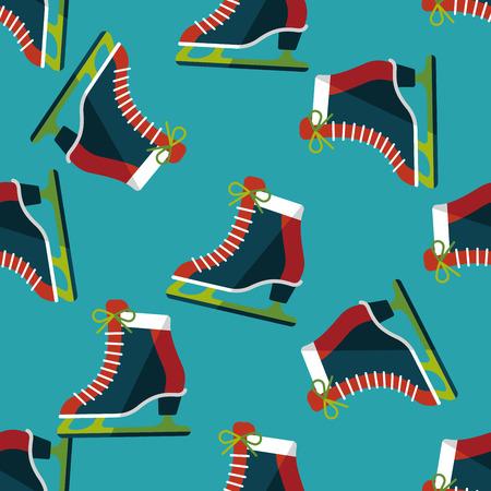 shoe laces: ice skate flat icon,eps10 seamless pattern background Illustration