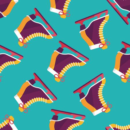 ice skate: ice skate flat icon,eps10 seamless pattern background Illustration