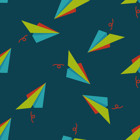 paper airplane flat icon seamless pattern background Vector