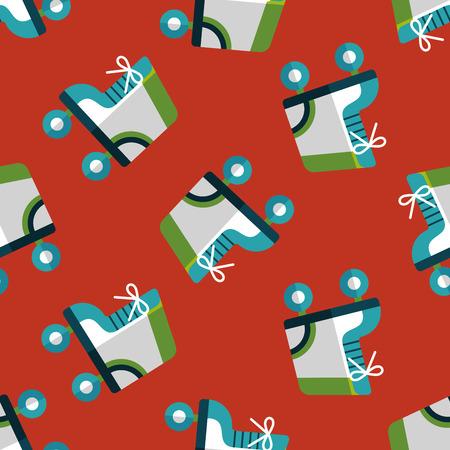 rollerblades: Roller skates flat icon seamless pattern background Illustration