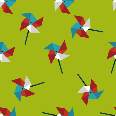 wind mill toy: Windmill flat icon seamless pattern background