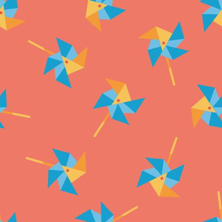windmill toy: Windmill flat icon seamless pattern background
