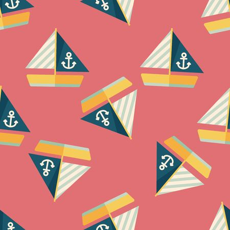 Sailboat flat icon seamless pattern background Vector