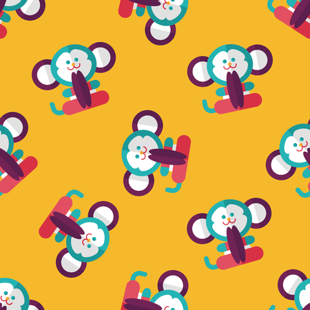 Cymbals: monkey toy flat icon,eps10 seamless pattern background