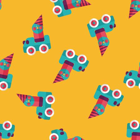 toy car flat icon seamless pattern background Vector