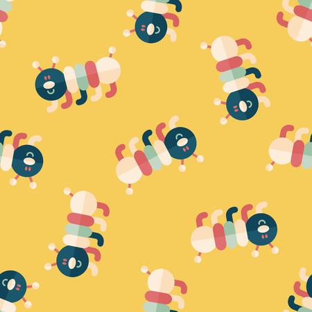 creeps: Caterpillar flat icon,eps10 seamless pattern background Illustration