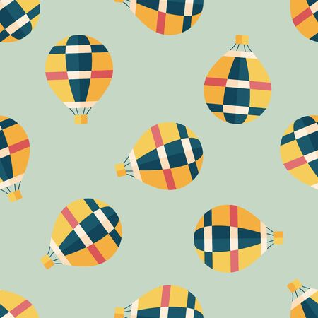 hot air: Transportation hot air ballon flat icon,eps10 seamless pattern background