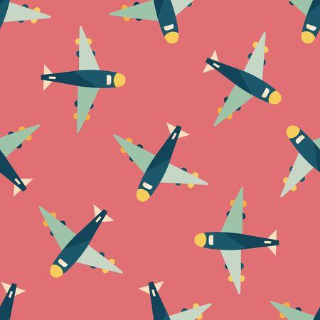 flight steward: airplane flat icon seamless pattern background Illustration