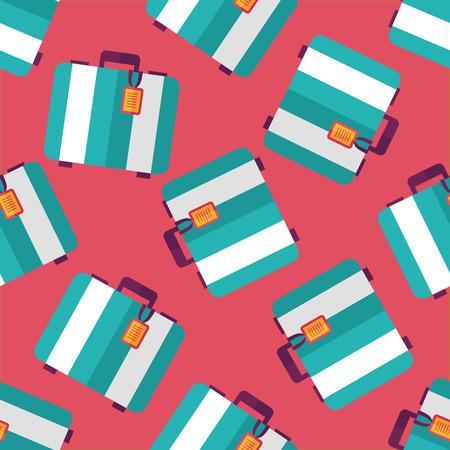 valigia: valigie di viaggio epoca, icona piatto sfondo seamless Vettoriali
