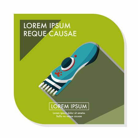 groomer: Pet shaving machine flat icon with long shadow,eps10