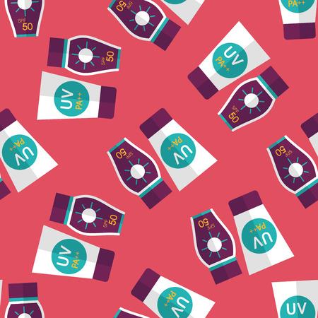 suntan lotion: Sunscreen flat icon seamless pattern background