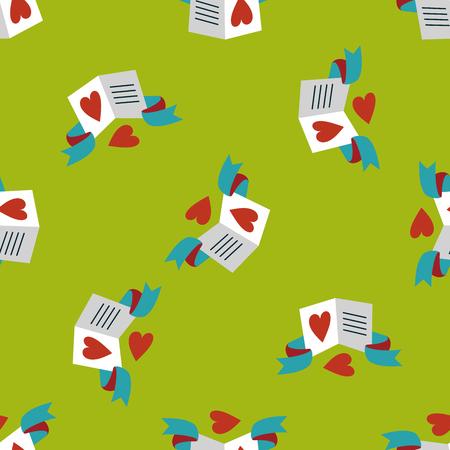 handwrite: Valentines day love letter flat icon,eps10 seamless pattern background Illustration