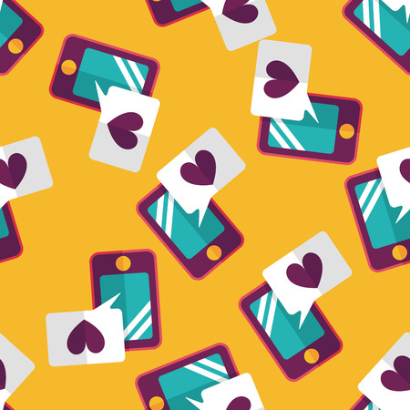 Valentines Day message phone flat icon,eps10 seamless pattern background Vector