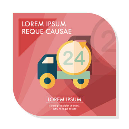 24 hours: 24 hours shopping freight transport flat icon with long shadow,eps10