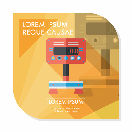 bulimia: Weight scale flat icon with long shadow Illustration