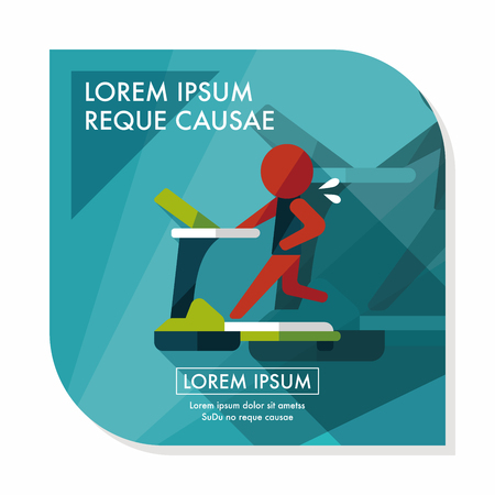 gym room: treadmill flat icon with long shadow,eps10