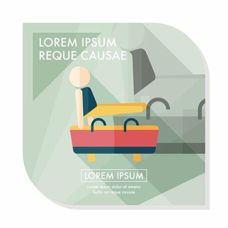 pommel: gymnastic pommel horse flat icon with long shadow,eps10 Illustration