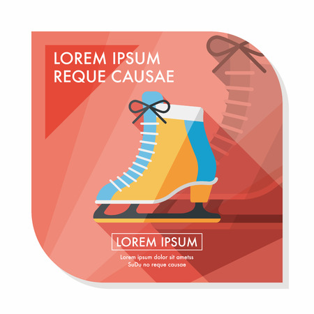 ice skate: ice skate flat icon with long shadow,eps10