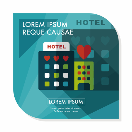 Valentines day hotel flat icon with long shadow,eps10