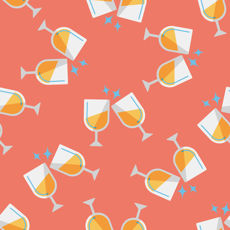 Martini glass cheers flat icon,eps10 seamless pattern background Vector
