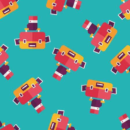 packing suitcase: sacchetto di affari icona piatto, eps10 sfondo seamless