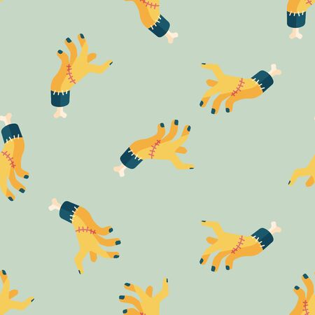 rotting: Halloween zombie hand flat icon,eps10 seamless pattern background Illustration