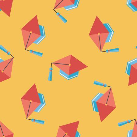master degree: Education Cap flat icon,eps10 seamless pattern background