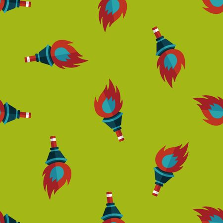 flaming torch: flaming torch flat icon,eps10 seamless pattern background