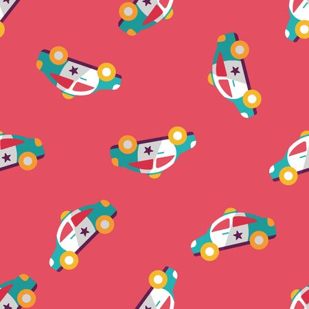politieauto: Transportation police car flat icon,eps10 seamless pattern background