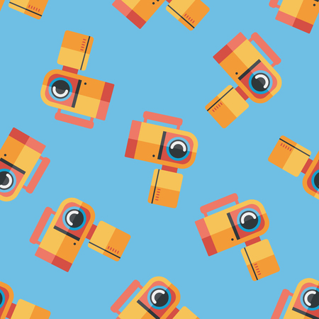 home video camera: Video camera flat icon seamless pattern background